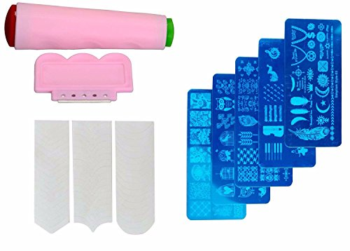 FOK Nail Art Combo 5pc Random Design Stamping Image Plate, Scrapper and 1pc French Manicure Nail Art Tip Sticker