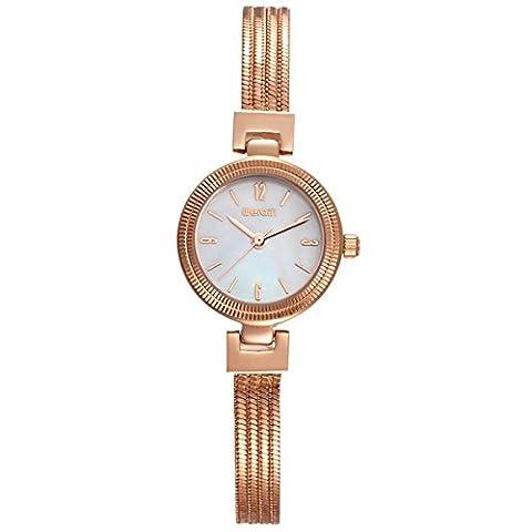 Mode Damen Quarz Zahl Linear Skala Armbänder Edelstahl Armbanduhr Rose-Weiß