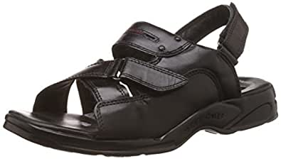 Redchief Men's  Black Leather Sandals and Floaters - 7 UK  (RC0592 001)