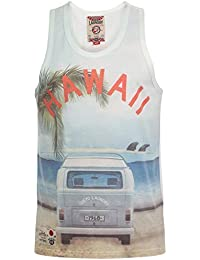 Tokyo Laundry - Hommes - Débardeur Hawaï Mason Cove été - Ivoire, XL - Torse 112cm