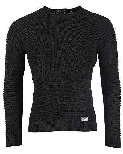 BLZ jeans - leichten Pullover solid black mit Pique Schwarz