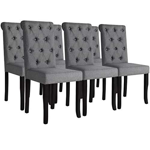 Festnight- 6er Set Essstuhl mit Hohe Rückenlehne | Esszimmerstühle mit Stoffbezug | Küchenstuhl Wohnzimmerstuhl Stuhlgruppe 42 x 52 x 96 cm Dunkelgrau