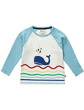 Piccalilly Bio-Baumwolle Blau und Weiss Langarm Raglan Walfisch Design T-Hemd