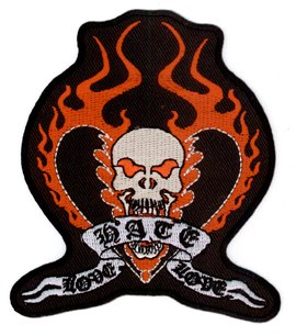 "Vulture Kulture - Love Hate Love Biker Top Quality Patch - 3.5"" x 4"" - ricamato toppa Embroidered Patch"