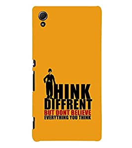 For Sony Xperia Z3+ :: Sony Xperia Z3 Plus :: Sony Xperia Z3+ dual :: Sony Xperia Z3 Plus E6533 E6553 :: Sony Xperia Z4 think different but don't believe everything you think ( think different but don't believe everything you think, good quotes, man, yellow background ) Printed Designer Back Case Cover By TAKKLOO
