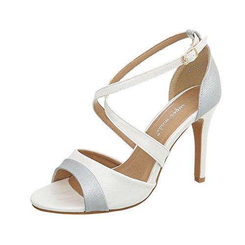 Ital-Design High Heel Sandaletten Damen-Schuhe Pfennig-/Stilettoabsatz Heels Schnalle Sandalen & Weiß, Gr 37, 8446- (Design High Heel)