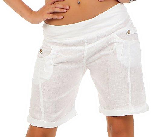 malito leichte Leinenshorts kurze Hose Hotpants 3001 Damen weiß (Kostüme Zumba)