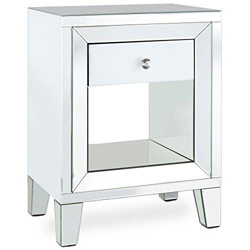 Beautify weißer verspiegelter Nachttisch mit Einzel-Schublade