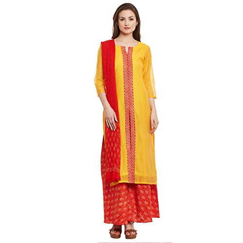 Dress Material by Pinkshink | Yellow Chanderi Salwar Kameez Dress Material k89