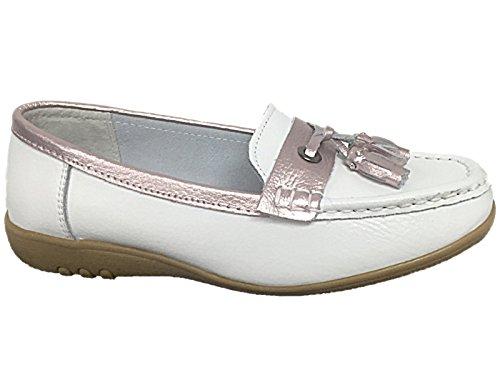 Foster Footwear , Damen Ballett Weiß / Rosa