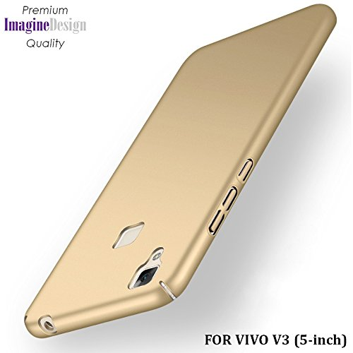 "Wow Imagine All Sides Protection ""360 Degree"" Sleek Rubberised Matte Hard Case Back Cover For Vivo V3 - Champagne Gold"