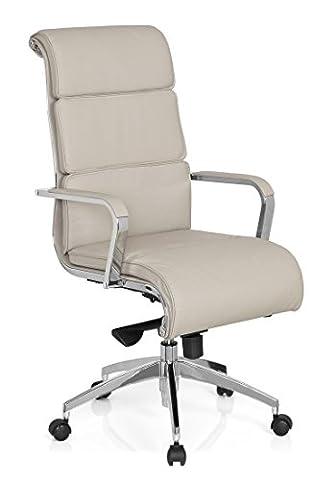 hjh OFFICE 660938 chaise de bureau, fauteuil de direction GALESA gris en cuir, avec accoudoirs, dossier haut, inclinable et ergonomique, piètement robuste et stable, siège pivotant de grand qualité pour un usage professionnel