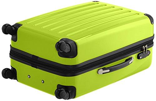 HAUPTSTADTKOFFER - Alex - 2er Koffer-Set Hartschale glänzend, TSA, 65 cm, 74 Liter, Aubergine-Silber Apfelgrün-Silber