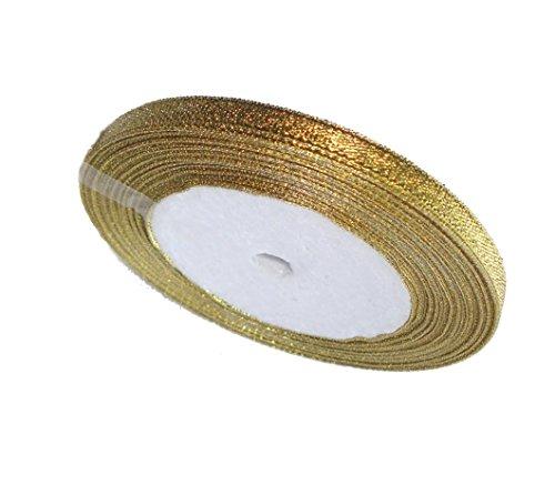 6mm Glitzer Gold Organzaband für Hochzeit Party Geschenk Weihnachten Deco. 25Meter–GCS London
