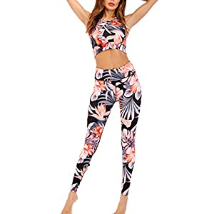 ZAMAC Yoga Wear Set, Damen Sports Tracksuit Jogging Suit 2Piece Sleeveless Outfit Sports Running Sexy