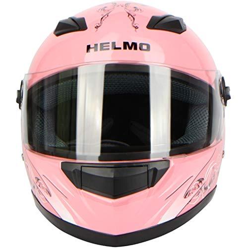 Casco da motociclista da uomo e da donna Casco a copertura integrale Locomotiva fuoristrada Casco da corsa Four Seasons Lente trasparente (colore : Pink butterfly-Transparent lens)