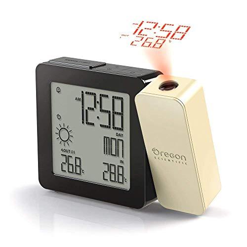 Oregon BAR368P - Reloj Despertador con Doble Alarma (proyección de Hora, Temperatura y pronóstico del Tiempo), Negro y Crema