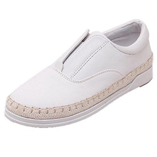 VogueZone009 Femme Tire ? Talon Bas Pu Cuir Couleur Unie Chaussures L?geres Blanc