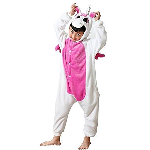 Missbleu Deguisement enfant pyjama combinaison animaux pyjama polaire enfant Licorne rose taille