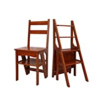 CAO-LIFE Wooden Multi-function Household Folding Ladder Stool, Four-step Ladder Chair, Shoe Rack, Flower Rack, Kitchen Step Stool (Color : A)