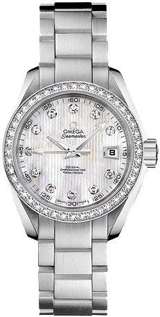 Omega Seamaster 231.15.30.20.55.001 Montre Automatique pour Femme en Nacre avec Cadran en Diamant
