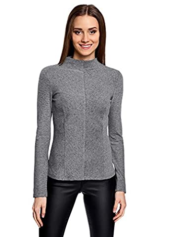oodji Collection Women's Slim-Fit Pullover with Back Zipper, Grey, UK 14 / EU 44 / XL