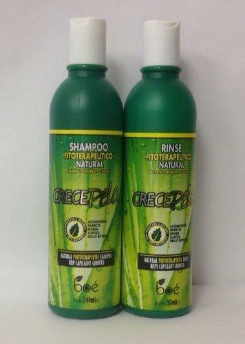Boe CrecePelo Natural Fitoterapeutico Shampoo 12oz & Natural Fitoterapeutico Rinse 12oz Set by Crece Pelo