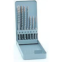 Alpen 80600007100 SDS Plus - Juego de brocas percutoras (4 cortes, diámetros: 5, 6, 8x110mm y 6, 8, 10, 12 x 160 mm, 7 piezas, estuche de metal)