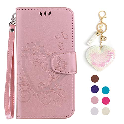 LA-Otter kompatibel für Xiaomi Redmi 4A hülle Leder Herz Schmetterling Roségold Tasche Handyhüllen Lederhülle Schutzhülle Flip Case Klapphülle