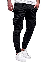 f2718a13c9c72 Sixcup Mens Cargo Trousers Slim Fit Jeans Combat Skinny Elasticated Waist  Drawstring Chinos Pants Slack Bottoms