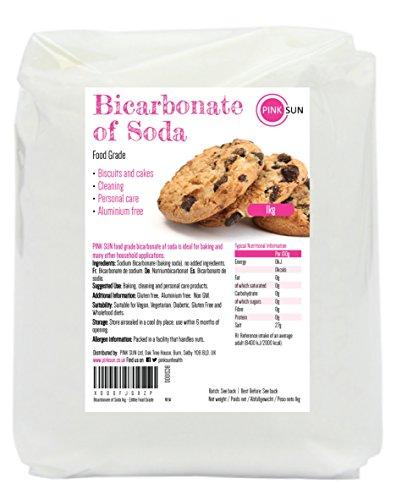 PINK SUN Bicarbonato de Sodio 1kg Alimentario Grado de Comida Limpieza