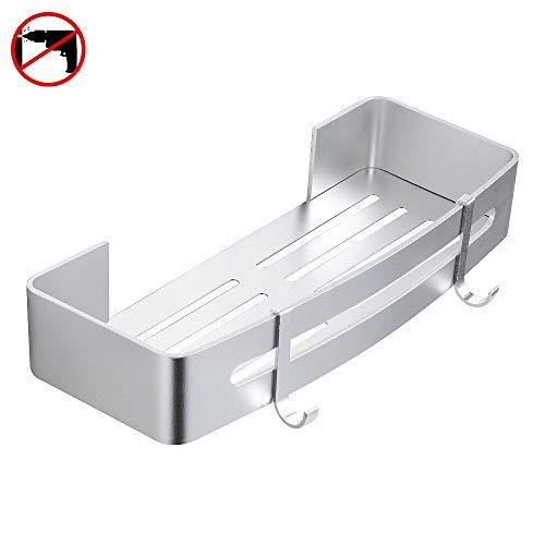 Hoomtaook mensola da doccia organizzatore senza chiodi, senza danni nastro biadesivo, alluminio, cesto anti ruggine per bagno e cucina argento