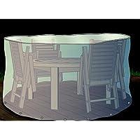 Gartenstuhl-Kissen - Funda protectora para mesa redonda y sillas de jardín (320 cm)