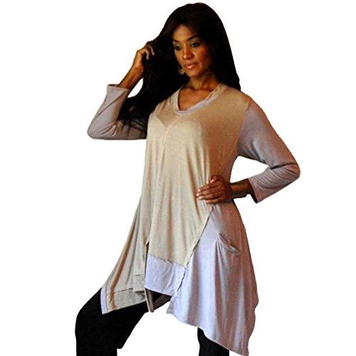 Color Block Shirt Top in a per Jersey Design Chic [B272] Cream Grey Small