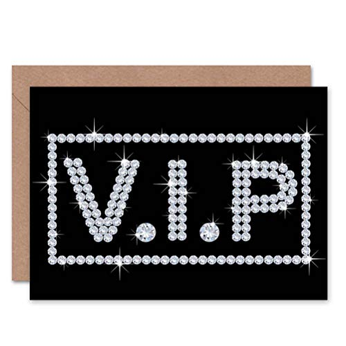 Wee Blue Coo LTD VIP Diamonds Bling Sign Photo Birthday BLANK Greetings Card Blue Diamond Bling
