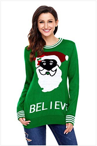 Sexy Lingerie Casual Sweater_New Round Neck Long Sleeve Santa Letter Pattern Pullover Sweater Casual Sweater 27812GreenM