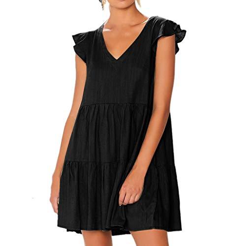 Damen Leinenkleid für den Sommer V-Ausschnitt Casual Kleid im Boho Look