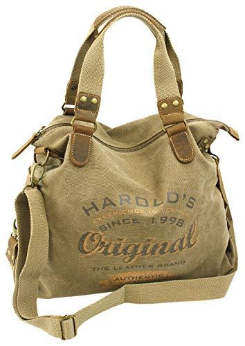 HAROLD'S Große Canvas Damen Handtasche mit Echtlederbesatz > Leger als Schultertasche oder crossover als Umhängetasche tragbar Natur Beige-Braun (4541) -