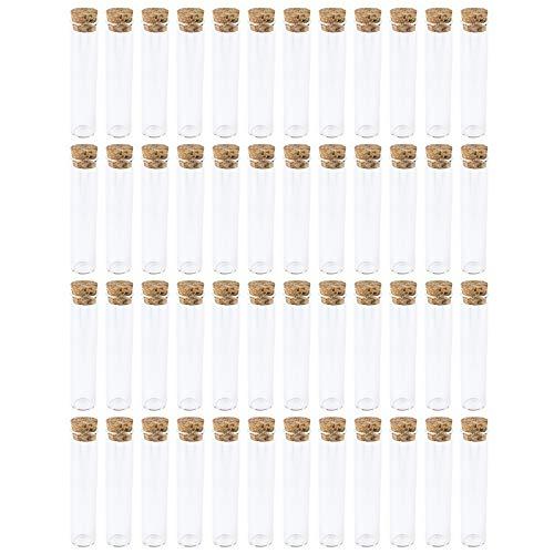 48 Reagenzgläser mit Korken   aus hochwertigem Glas   10cm hoch (ohne Korken)   außen: Ø 2,2cm   innen: Ø1,7cm   selbststehend dank abgeflachtem Boden   ideal als Gastgeschenk zur Hochzeit -