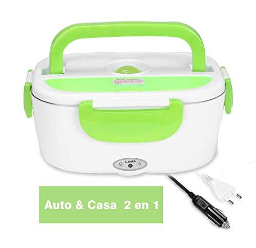 Lunch Box Elettrico 2 in 1 per Auto e Lavoro Tarter Elettrico 220V e 12V scaldavivande Elettrico in Acciaio Inox 1.5L con Due comparti e Cucchiaio (Verde)