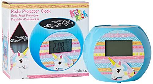 Lexibook Unicorn Reloj despertador proyector, efectos de sonido, alimentado por batería, Azul, RL975UNI...