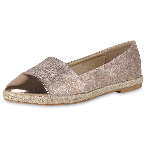 Japado Comodo Da Donna Espadrillas Comodo Pantofola Glitter Scintillante Applique Trendy Scarpe Estive Da 36-41 Oro Rosa
