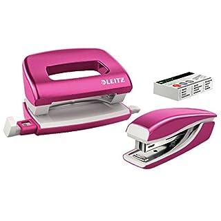 LEITZ Wow Locher+ Mini-Heftgerät, pink metallic