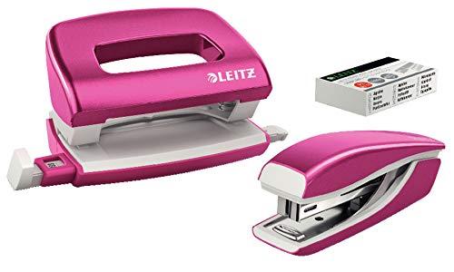 Leitz 55996023 Mini-Heftgerät-und Locher-Set (für bis zu 10 Blatt, Inkl. Heftklammern, WOW) metallic pink (Set Locher)