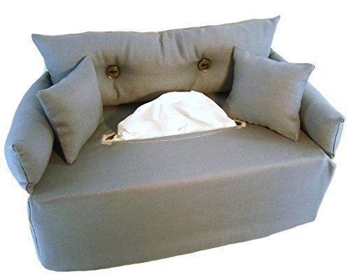 Graues Taschentuchsofa- Bezug für Taschentuchschachtel oder Kosmetiktuchbox - Handgefertigt