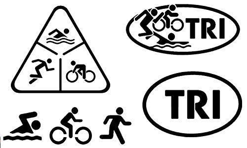 Detailed Decals Triathlon-Aufkleber: Tri, Schwimmen, Radfahren, Laufen Triathlon Black