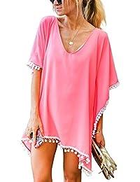 1edc05c543 ORANDESIGNE Womens Summer Bikini Cover-up Kaftan Beachwear Pom Pom Beach  Dress Bikini Swim Bathing