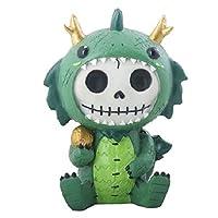 YTC Summit International Furrybones Tatsu Skeleton in Green and Gold Dragon Costume Figurine Statuette