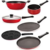 Nirlon Non-Stick Coated Dishwasher Safe 6 Piece Aluminium Kitchen Cooking Essential Combo Offer Set With Steel Lid