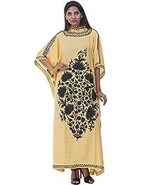 Odishabazaar Crushed Cotton Kashmiri Kaftan With Aari Embroidered By Hand (yellow Black)